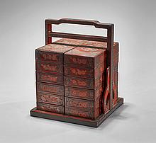 Chinese Carved Laquer Stacking Box