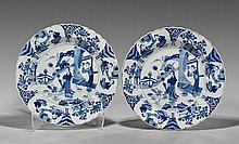 Pair Kangxi-Style Blue & White Chargers