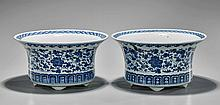 Pair Old Chinese Blue & White Planters