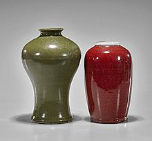 Two Chinese Monochrome Glazed Vases