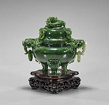 Chinese Carved Spinach Jade Censer