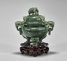 Chinese Carved Jade/Hardstone Censer
