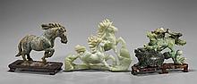 Three Carved Hardstone/Bowenite Horses & Lion