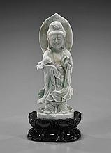 Tall Chinese Carved Jade Guanyin