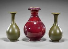 Three Chinese Yuhuchunping Vases