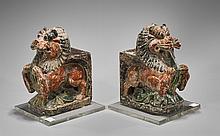 Pair Antique Japanese Polychrome Lions