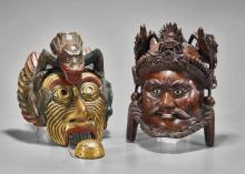 Chinese & Japanese Carved Wood Masks