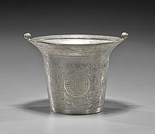 Antique Chinese Engraved Pewter Vessel