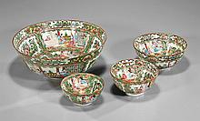 Four Chinese Rose Medallion Graduated Bowl Set