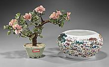 Two Chinese Items: Porcelain Jar & Tree