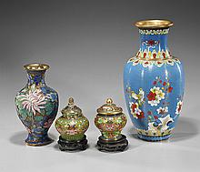 Group of Four Chinese Cloisonné Vases