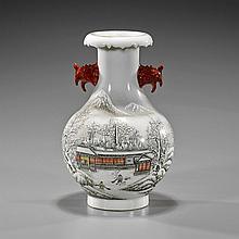 Qianlong-Style Enameled Globular Porcelain Vase
