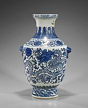 Qianlong-Style Blue and White Porcelain Vase