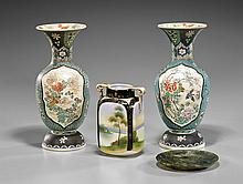 Group of Four Various Items: Porcelain & Hardstone