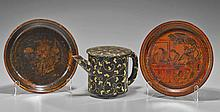 Three Chinese Lacquer Pieces: Plates & Vessel