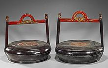 Pair Antique Chinese Lacquered Containers