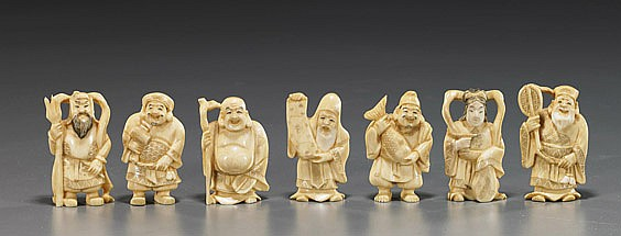 Set of 7 Ivory Gods of Good Fortune