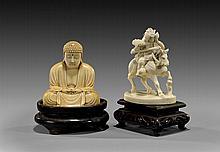 TWO EARLY 20TH CENTURY IVORY OKIMONO