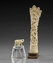 Carved Bone Object & Ivory-Like Elephant