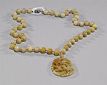 Chinese Carved Yellow Hardstone Necklace