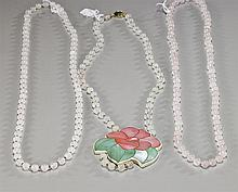Three Chinese Rose Quartz Bead Necklaces