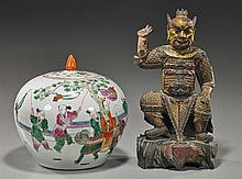 Two Chinese Items: Porcelain & Wood Figure