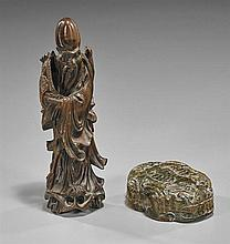 Two Chinese Carvings: Stone Box & Wood Shoulao