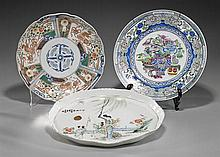 Three Various Enameled Porcelain Plates