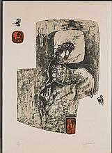 Signed Abstract Print by Le Ba Dang