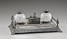 Art Deco Glass & Silver Plated Desk Set