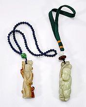 Two Carved Celadon Jade Figures