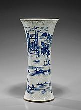 Tall Kangxi-Style Blue & White Beaker Vase