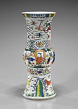 Large Wucai Glazed Beaker Vase