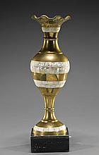 Brass Vase with Mother of Pearl Inlay