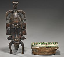 Chinese Glazed Pillow(?) & African Wood Mask