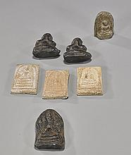 Group of 7 Antique Thai Pottery Amulets
