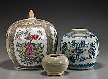 Three Various Chinese Glazed Ceramic Jars
