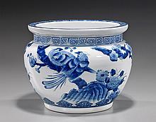 Small Blue & White Porcelain Jardinière