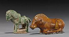 Two Tang Dynasty Glazed Pottery Animals