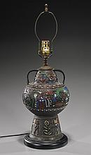 Antique Bronze & Champlevè Enamel Lamp