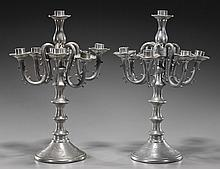 Pair Antique Chinese Pewter Candelabra