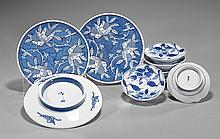 Nine Japanese Blue & White Porcelain Dishes