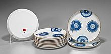 Set of Twelve Japanese Porcelain Plates: Umbrella