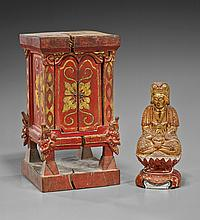 Two Lacquered Wood Items: Shrine & Bodhisattva