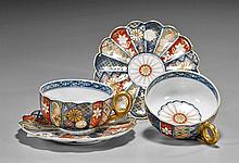 Pair Imari Porcelain Teacup & Saucer Set
