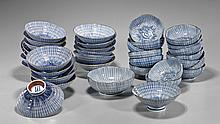Group of Japanese Porcelain Dishware: Striated
