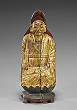 Japanese Lacquered & Wood Seated Scholar