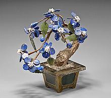 Vintage Lapis Lazuli Tree & Spinach Jade Pot