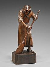 Antique Carved Wood Figure: Woman & Broom