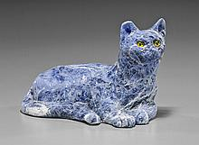 Carved Sodalite Recumbent Cat